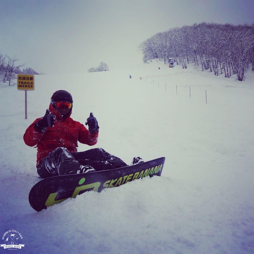 Na snowboardzie w Japonii