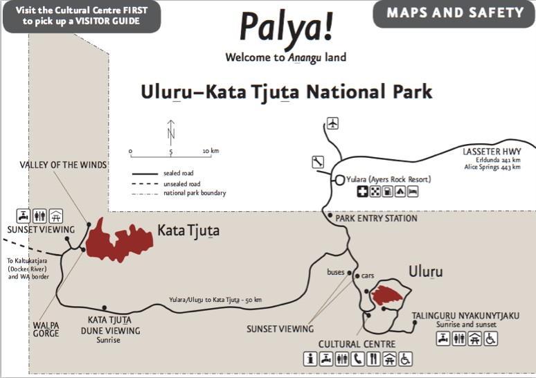Mapa Uluru Kata Tjuta